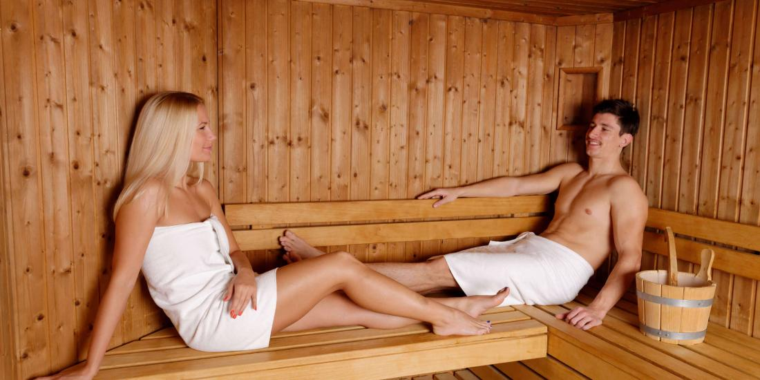 two young ladies in the sauna